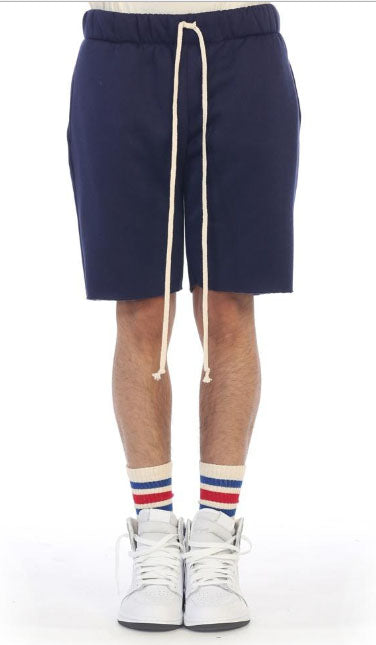 Plain Fleece Shorts- Navy