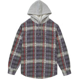 Supreme Hooded Jacquard Flannel Shirt- Navy