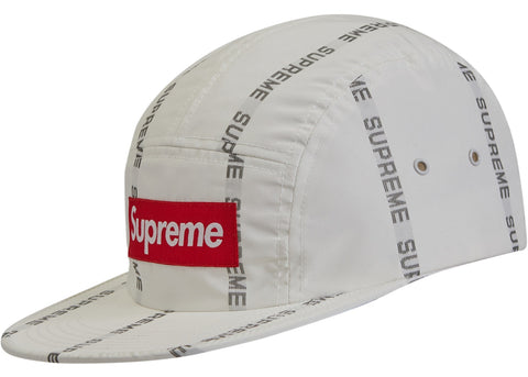 Supreme Reflective Text Camp Cap- White