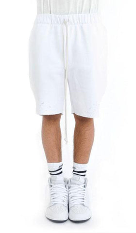 Distressed Fleece Shorts- White