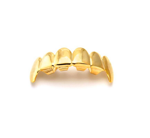 Gold Spiked Fangs Top Grillz