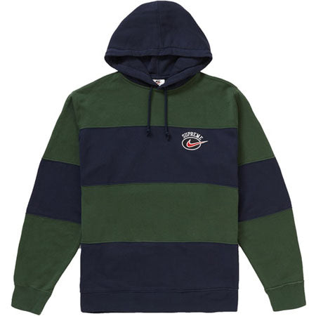 Supreme Nike Stripe Hooded Sweatshirt- Navy