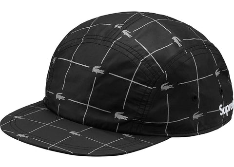 Supreme LACOSTE Reflective Grid Nylon Camp Cap- Black