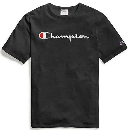 Champion Script Embroidered Tee- Black