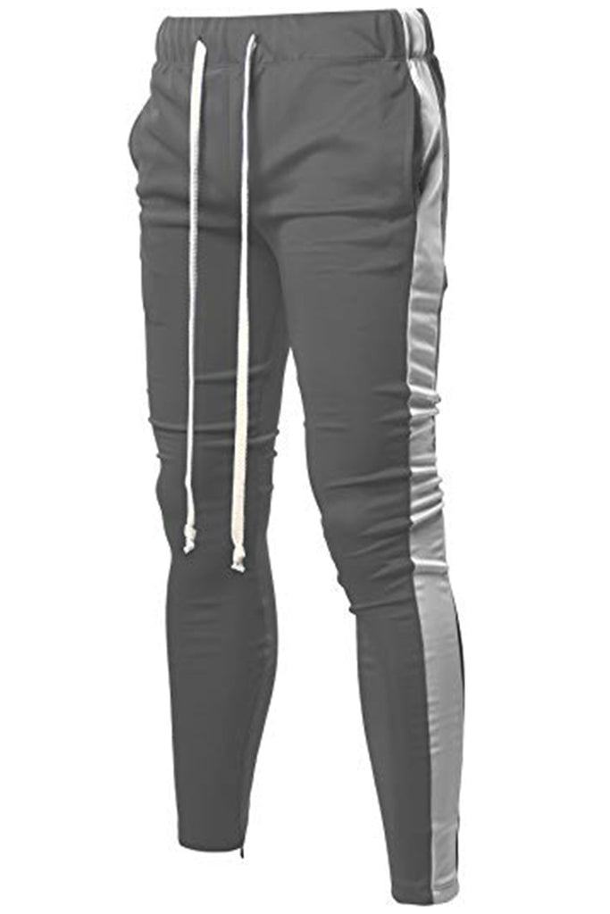 Holiday Track Pants with Side Stripe- Grey