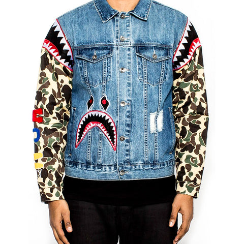 AKA Camo Sleeve Denim Jacket