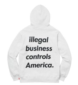 Supreme Illegal Business Hooded Sweatshirt- Ash Grey