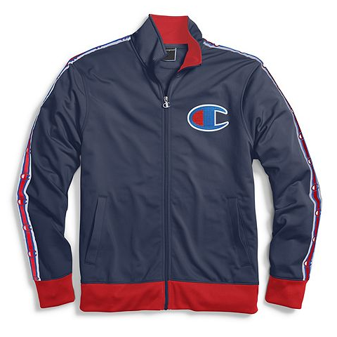 bf8a921e Champion Life® Men's Track Jacket, Chain Stitch Big C Logo- Indigo