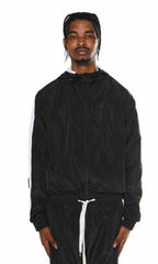 Windbreaker Track Jacket- Black