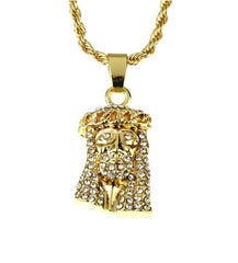 Jesus Face Pendant Chain- Gold