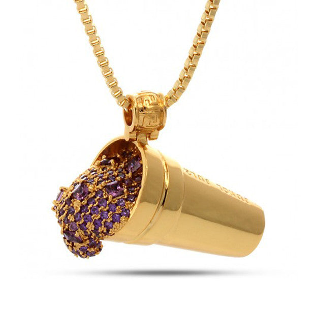 Jungl Julz 18K Gold Purple Drank Necklace