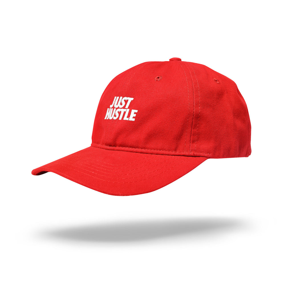 Just Hustle Dad Hat Red/White