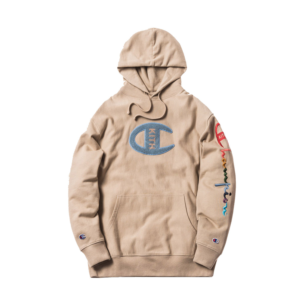 Kith Champion Logo Hoodie- Sand – Streetwear Official a63bcb69b2dc