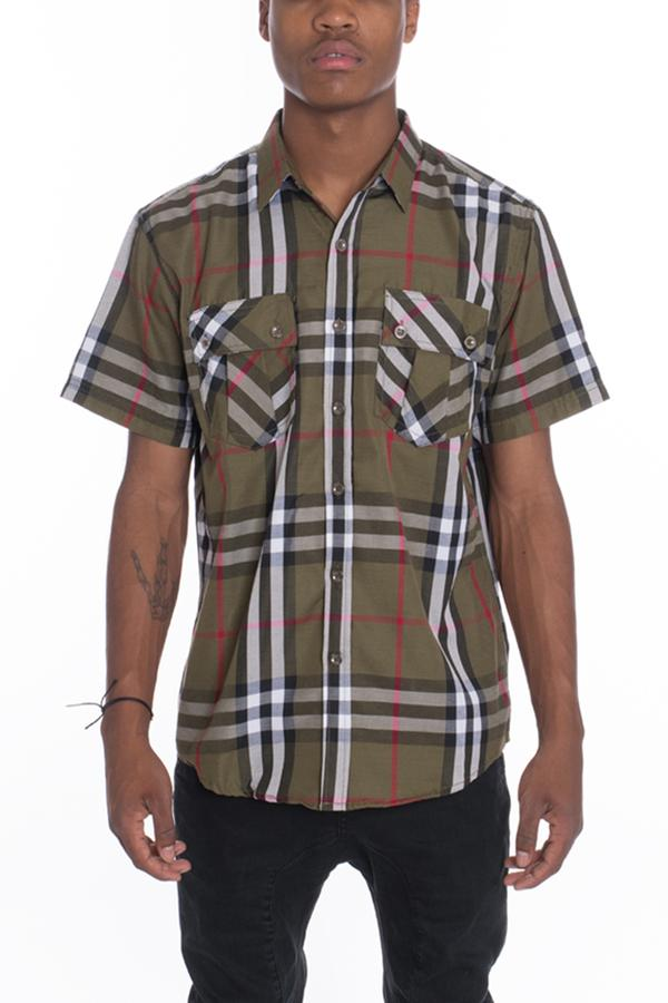 Checkered Short Sleeve- Olive