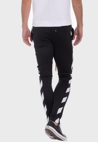 Diagonal Track Pants- Black