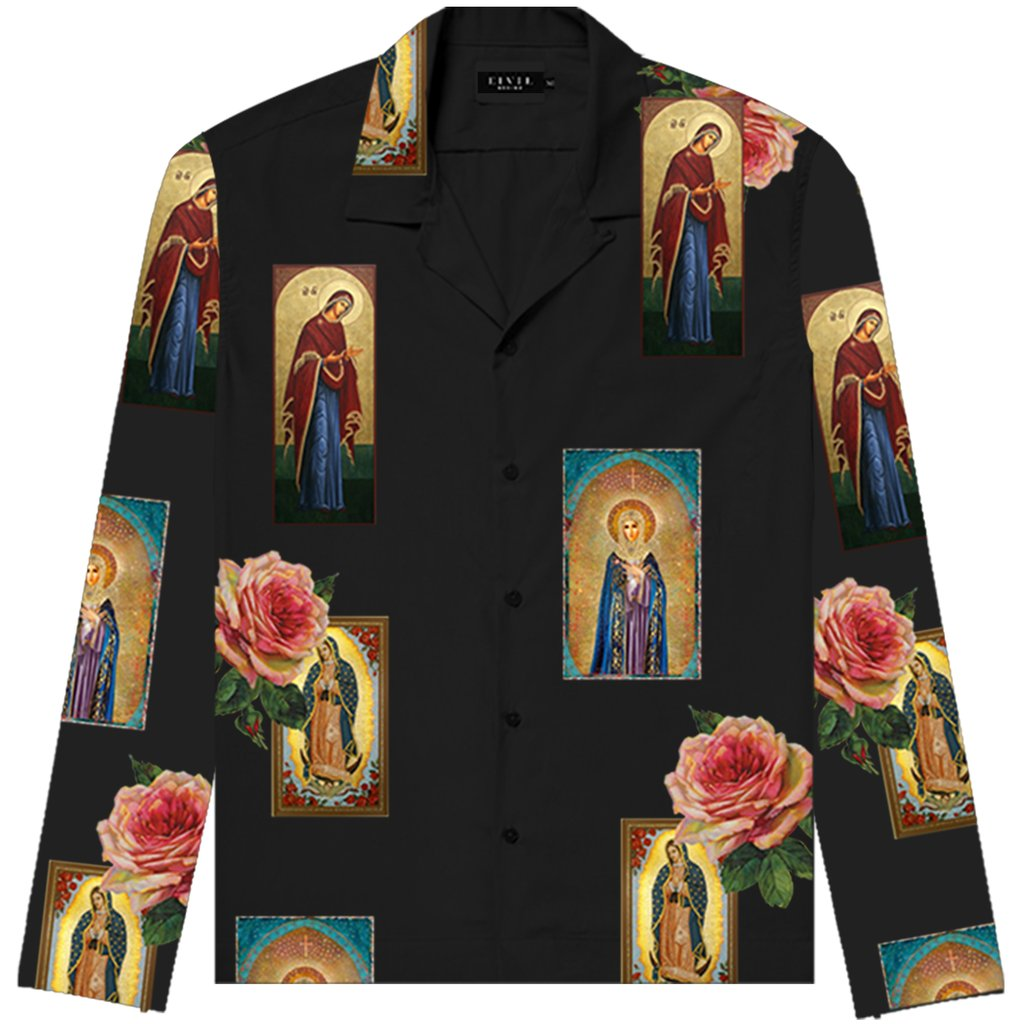 Holy Floral LS Button Up- Black