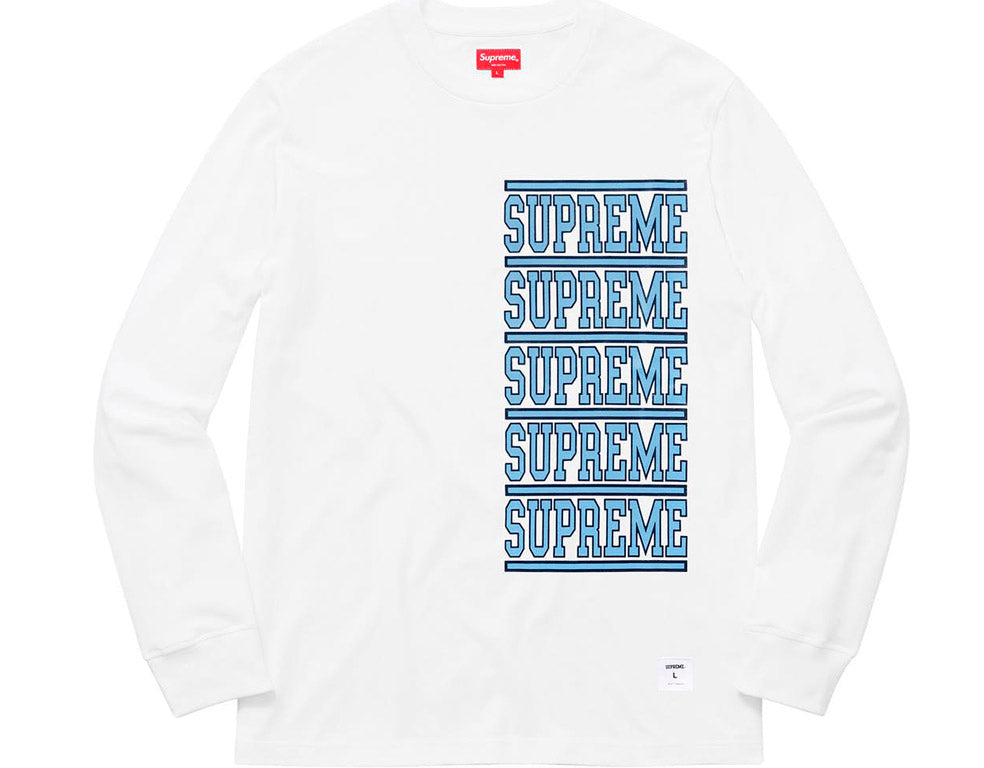 Supreme Stacked L/S Top- White