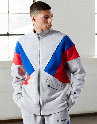 Champion Reverse Weave Colorblock Track Jacket- Oxford Grey/Blue