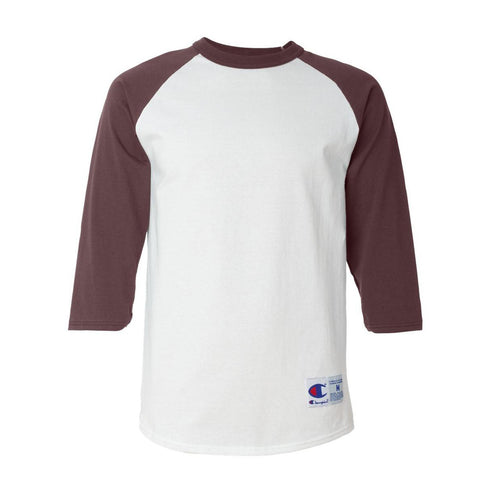 Champion - Raglan Baseball T-Shirt (White/ Maroon)