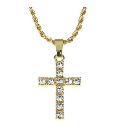 Cross Stone Mini Pendant Chain- Gold