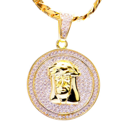 5mm Cuban Chain with Jesus Face Pendant- Gold