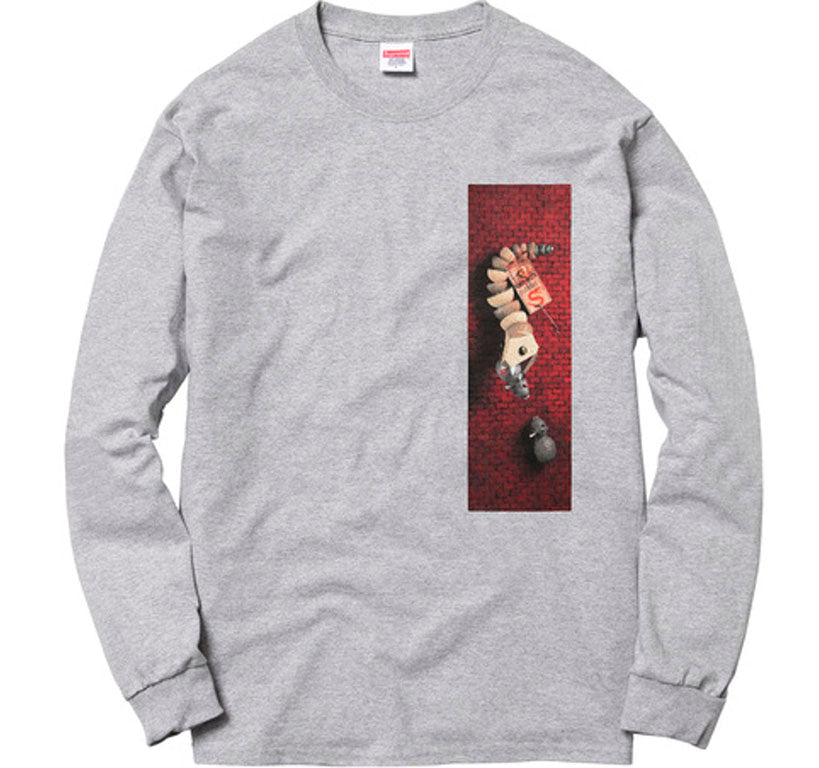 Supreme Mike Hill Snake Trap Long Sleeve Tee- Heather Grey