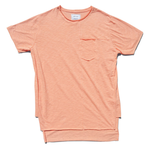 Salmon Frayed Pocket Tee
