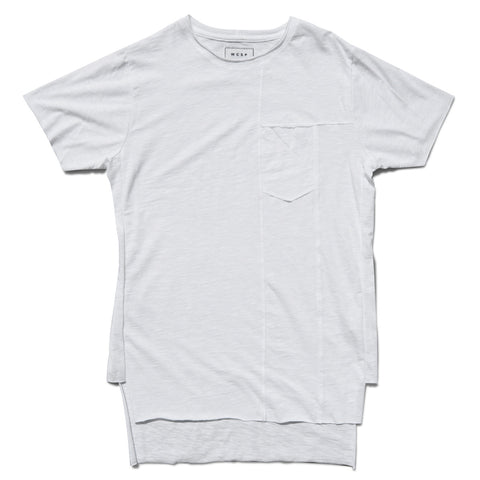 White Frayed Pocket Tee