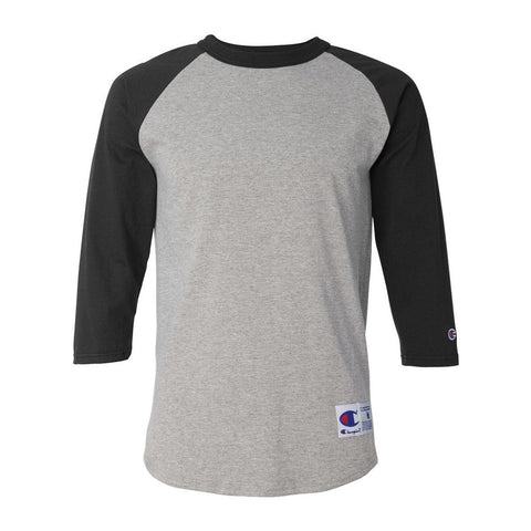 Champion - Raglan Baseball T-Shirt (Oxford Grey/ Black)