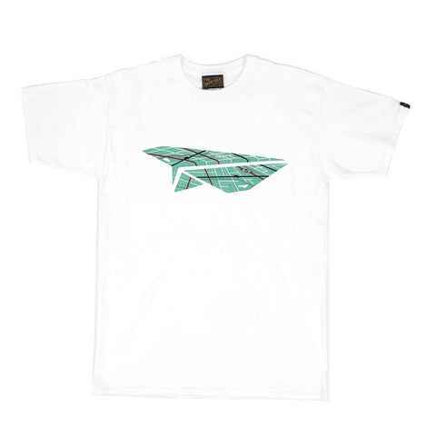 Paper Plane Map White Tee
