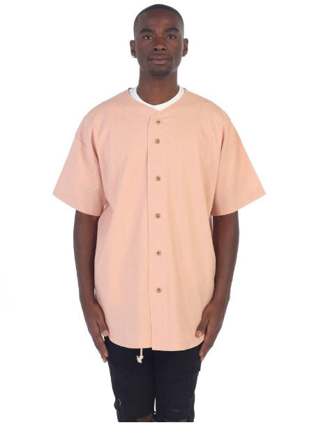 Vintage Linen Baseball Top (Salmon)