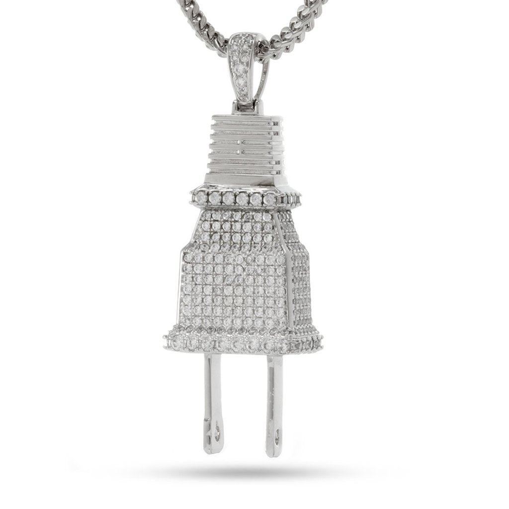 "Fox ""Empire"" x KING ICE - CZ Plug Necklace White Gold"