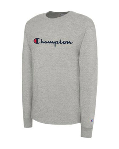 Champion Script Long Sleeve- Oxford Gray