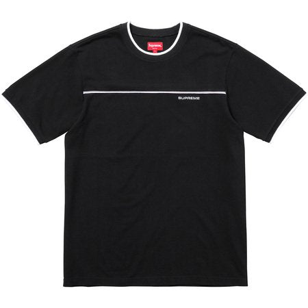 Supreme Contrast Yoke Pique Top- Black