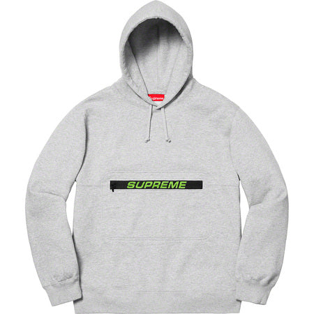 Supreme Zip Pouch Hoodie- Heather Grey