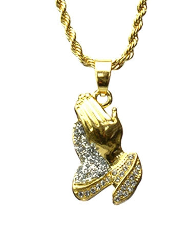 Mini Prayer Hands Chain- Gold