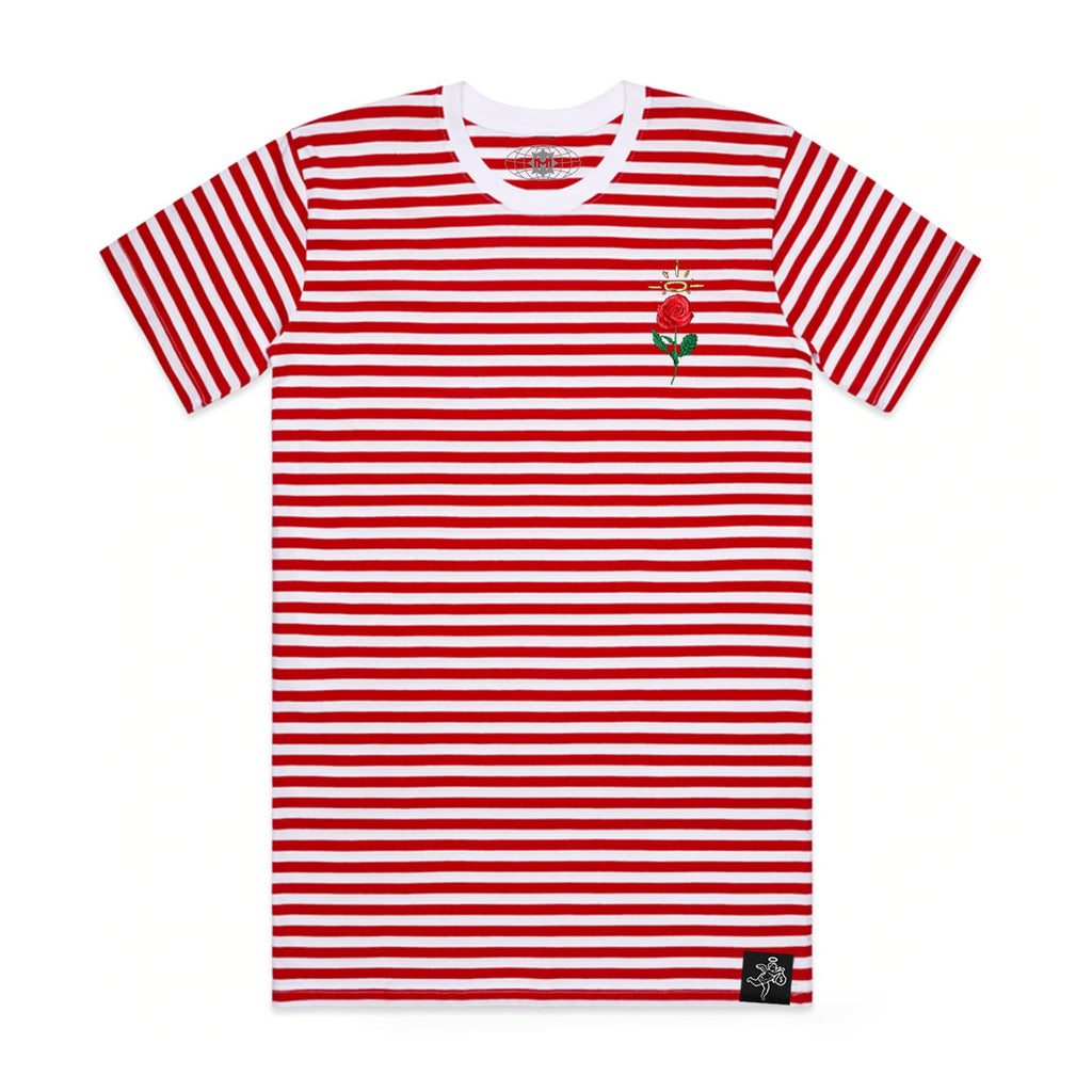 Embroidered Rose Stripe Tee Red / White