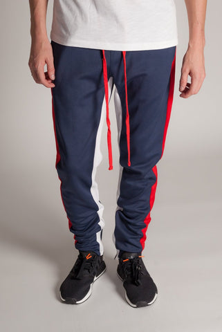 Kayden K Track Pants- Navy/Red