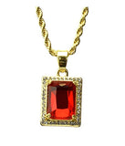 Ruby Square Pendant Chain- Gold