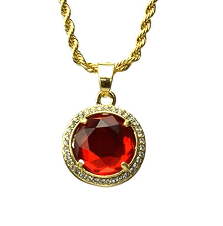 Ruby Pendant Chain- Gold