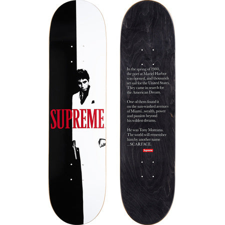 Supreme Scarface Split Skateboard – Streetwear Official 3d8ff4812b9