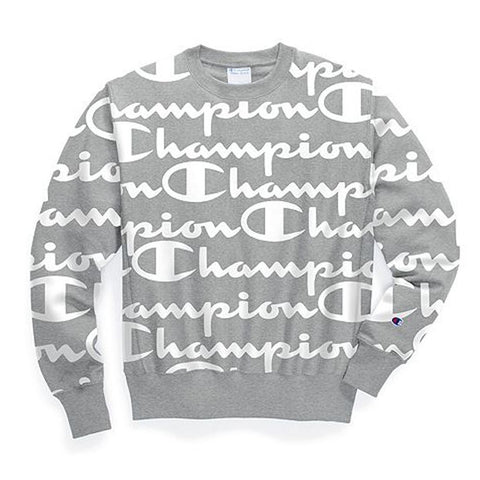 Champion Reverse Weave Giant Script Crewneck- Oxford Grey