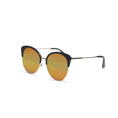'Lust' Winged Cat Eye Sunglasses (Black With Orange/Pink Tint)