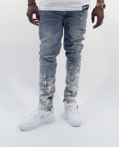 Splatter Paint Denim- Light Blue