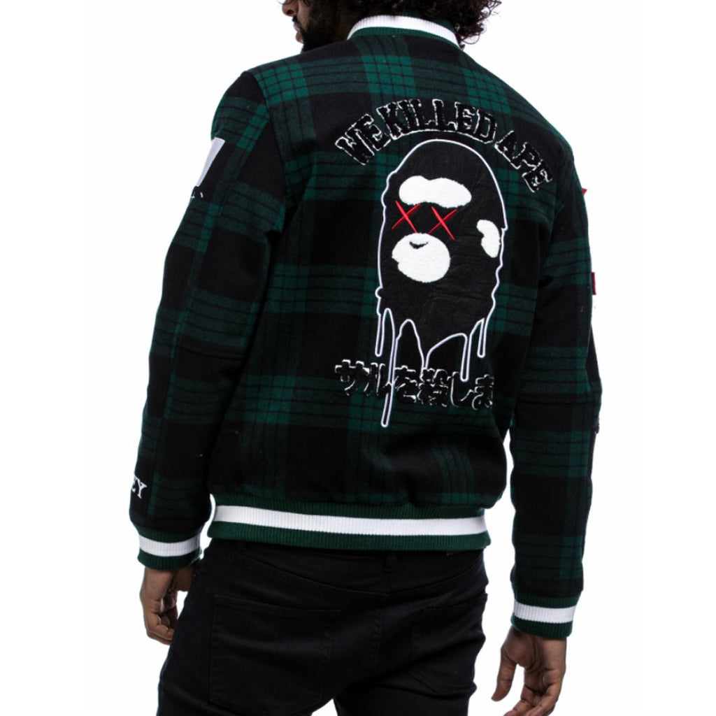 We Killed Ape Plaid Varsity Jacket