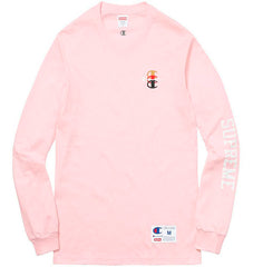 Supreme/Champion Stacked C L/S- Pink