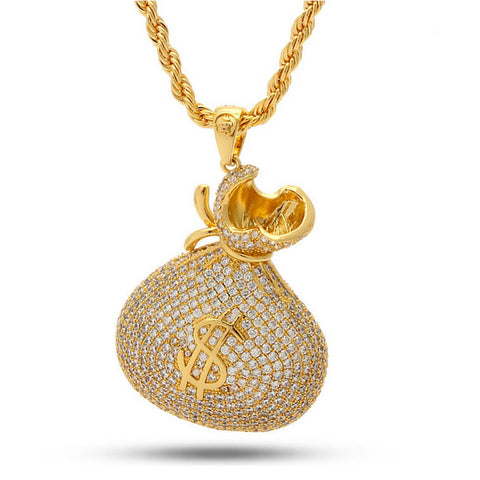 "Jungl Julz 18K Iced-Out Money Bag ""Stash"" Necklace"