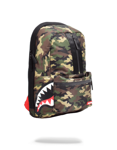 One Strap Side Shark Backpack- Camo