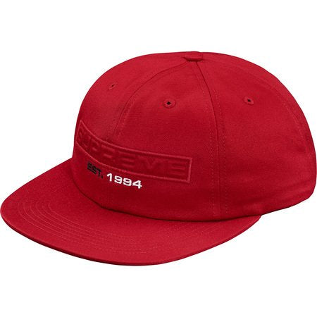 Supreme Embossed Logo 6-Panel Hat- Red