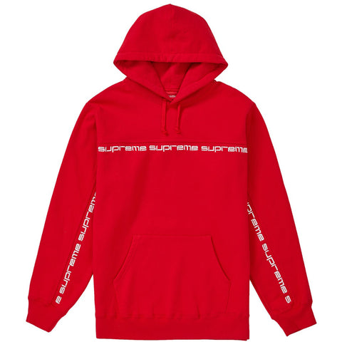 Supreme Text Stripe Hooded Sweatshirt- Red